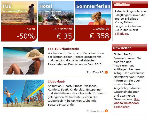 Aktuelle Angebote und Urlaubsziele von Opodo