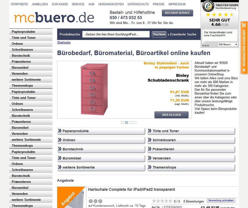 Die Startseite von Mcbuero mit den vielen Bürozubehör Kategorien auf der linken Seite