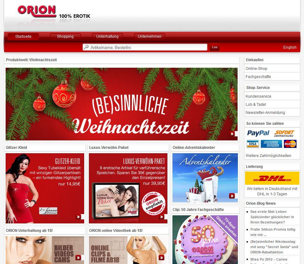 Der Orion Shop mit einer großen Auswahl an Erotik-Artikeln