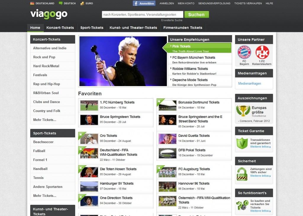 Die Webseite von viagogo mit vielen interessanten Ticket-Angeboten