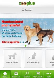 Die Startseite der Zooplus App